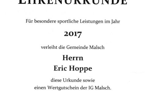 Ehrenurkunde Gemeinde Malsch